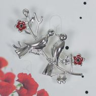3 Poppy doves brooch